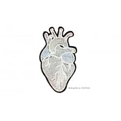 Punk Patch Herz, schwarzweiss, ~50x75mm