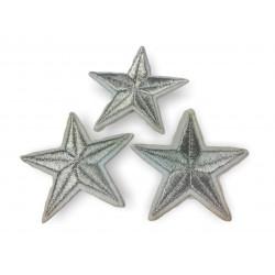3st. Stern Patches, silber, ca. 55mm, Bügelbild
