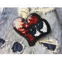 Sequin patch heart'n eyes, iron or sew on, appliqué ca. 75mm