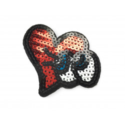 Pailletten Aufbügler Herz mit Augen, ca. 75mm ❤️
