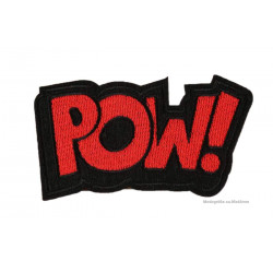 POW! Patch, roter Aufbügler, ca. 95x45mm