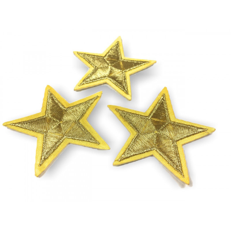 3 star patches, golden, ca.55mm iron on /sew on patch