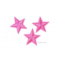 3 Stern Bügelbilder, pinkrosa Aufnäher, ca. 40mm Sterne