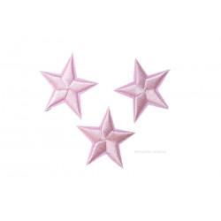 3 Stern Bügelbilder, hellrosa Aufnäher, ca. 40mm Sternchen