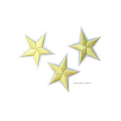 3 Stern Bügelbilder, hellgelb Aufnäher, ca. 40mm Sternchen