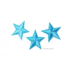 3 Stern Bügelbilder, hellblaue Aufnäher, ca. 40mm Sternchen