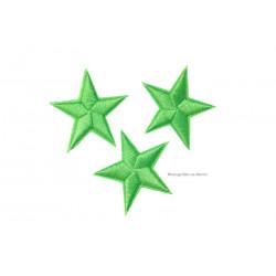 3 Stern Bügelbilder, hellgrüne Aufnäher, ca. 40mm Sternchen