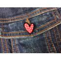POLKADOT HEART Fashion Pin, cm.20mm, Mode Pins Anstecknadel Badge Button
