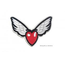 Aufbügler Herz mit süssen Flügeln, ~80x55mm