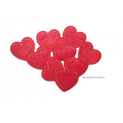 9x Herzchen Aufbügler, rot, ca.35mm