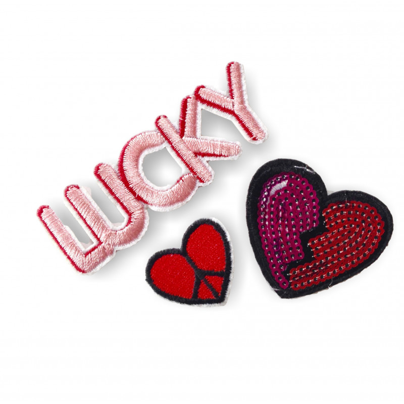 LUCKY HEARTS, 3 pcs. bundle of fashion patches, iron on sew on
