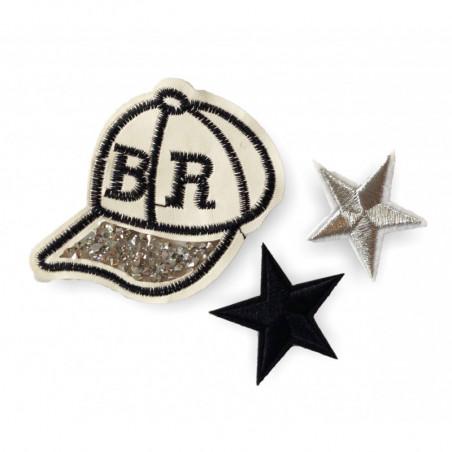3er Fashion Bügelbilder STARS & CAP, Strass & Stick Patches zum aufbügeln