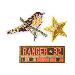 3 Fashion Bügelbilder RANGER BIRD, gestickte Patches zum aufbügeln