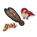YES BIRD FEATHER, 3 pcs. set of fashion patches, iron on sew on