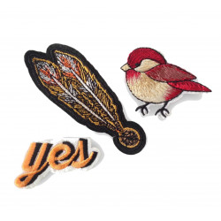 YES BIRD FEATHER, 3 pcs. set of fashion patches, iron on sew on