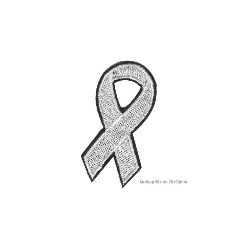 Weisse Soli-Schleife gegen häusliche Gewalt, Aufnäher ca.50mm