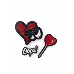 3 Trend Bügelbilder HEARTS & OOPS, Pailletten & Stick Patches zum aufbügeln