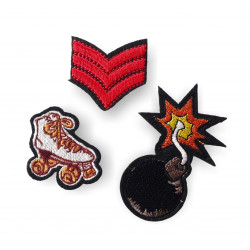 GENERAL SKATE BOMB, 4 pcs. set of fashion patches, iron on/sew on