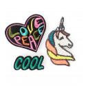 3 Fashion Patches LOVE PEACE UNICORN, Pailletten & Stick Bügelbilder