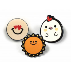 3 FASHION PINS, LOVE-SUN-CHICK, ca.25mm