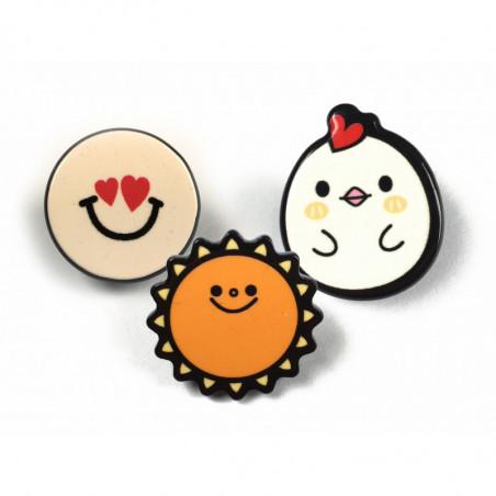 3 FASHION PINS, LOVE-SUN-CHICK, ca.25mm