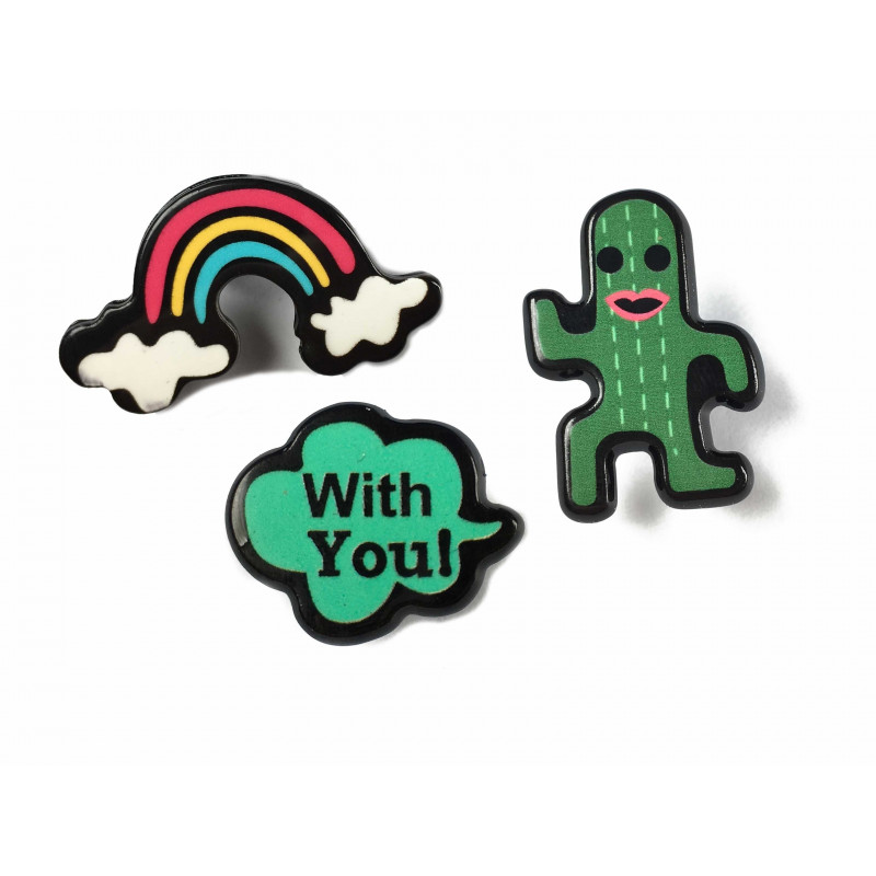 3er SET FASHION PINS, cm.25mm, RAINBOW-CACTUS-WITHYOU, Mode Pins Anstecknadel Badge Button