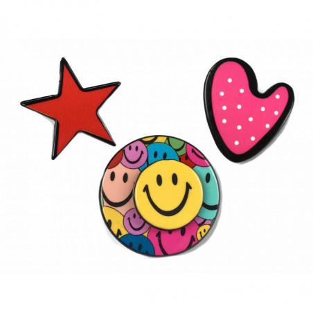 3 FASHION PINS, EMOJI-STAR-HEART, ca.25mm