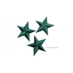 3 Stern Bügelbilder, dunkelgrüne Aufnäher, ca. 40mm Sterne