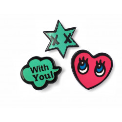 3 FASHION PINS, LOVE-YOU-STAR, ca.25mm