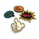 4er SET FASHION PINS, THUMBS UP, ca.20-35mm, Mode Pins Anstecknadel Badge Button