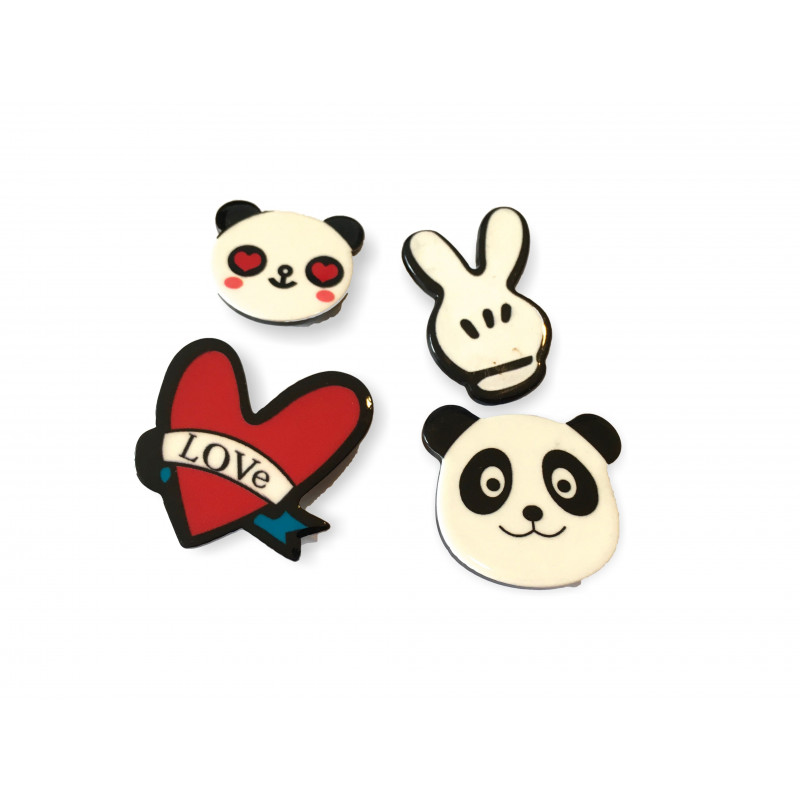 4er SET FASHION PINS, PANDA LOVE, ca.25-30mm, Mode Pins Anstecknadel Badge Button