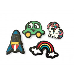 4 FASHION PINS, ROCKET PONY, ca.25-35mm