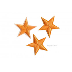 3 Stern Bügelbilder, orange Aufnäher, ca. 40mm Sterne