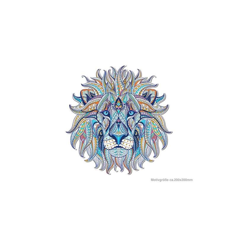 Großes Mandala Bügelbild LÖWE, blau, Patch zum aufbügeln ~200mm