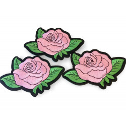 3 Rosen-Patches, stylische Blumen Bügelbilder ca. 115mm, rosa