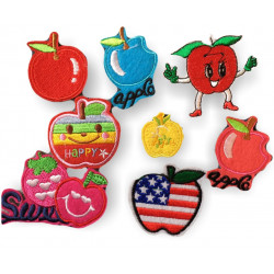 APPLE PATCHES, 8 pcs. bundle of fruit patches, iron on sew on