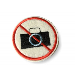 No photography permitted patch, ca.65mm sew on iron on sign