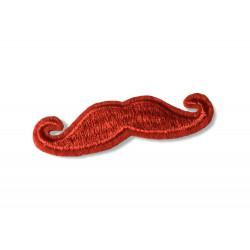 Mustache Patch rot, Hipster Bügelbild cm.60mm, Aufbügler