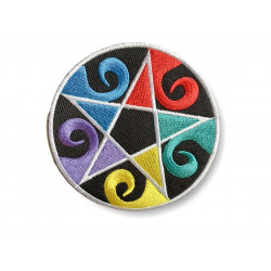 RAINBOW pentagram, pentangle Patch ca. 80mm