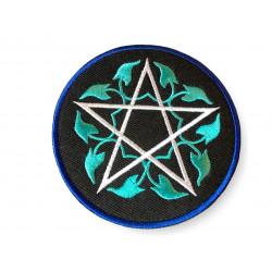 Floral pentagram, pentangle Patch ca. 80mm