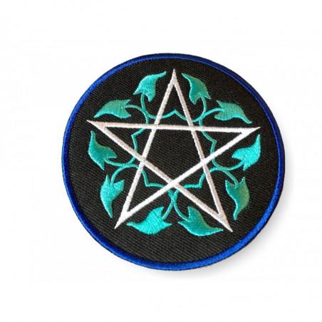 Floral Pentagram, türkis, Bügelbild Patch ca. 80mm