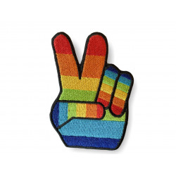 Rainbow Victory Patch, Peace Bügelbild ca. 80mm, Hippie Aufbügler