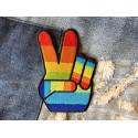 Rainbow Peace Patch, Bügelbild ca. 50mm, Aufbügler