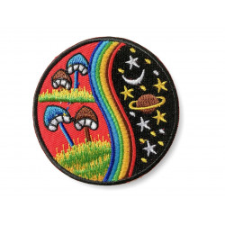 Hippie patch mushroom nights, iron on ca.75mm