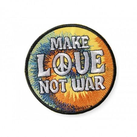 Kult-Patch MAKE LOVE NOT WAR , dichtes Bügelbild ca.80mm