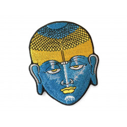 Blauer Trance Buddha Patch, dichtes Bügelbild ca.80mm