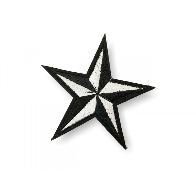 Stern Bügelbild, silber/schwarz, Patch ca. 70mm, Sternchen