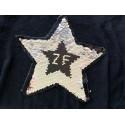 Reversible sequins patch STAR, black-silver, XL color change wipe applique ca.23cm