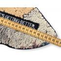 Reversible sequins patch LIPS, silver-gold, XL color change wipe applique ca.24cm
